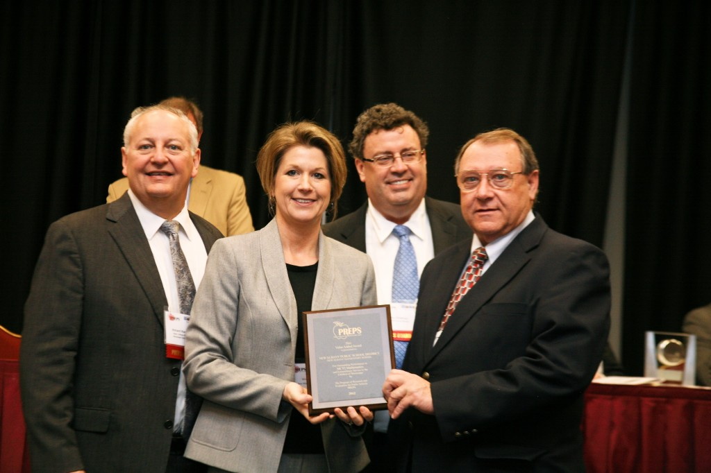 MCT2 Mathematics Award for New Albany Elementary School Pictured l-r:  Dr. Richard Blackburn, Dean, College of Education, Mississippi State University; Windy Faulkner, Principal, NAES; Lee Childress, Superintendent, Corinth School District & PREPS Board of Directors; and Jackie Ford, Superintendent, NASD.