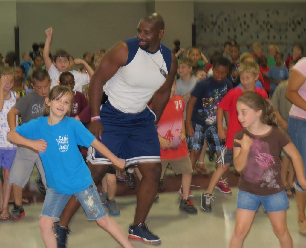 "Pictured:  Students enjoy working out with Certified Exercise Specialist ""AJ""."