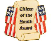 """Image of Scroll and US Flag with words """"Citizen of the Month Award"""""""