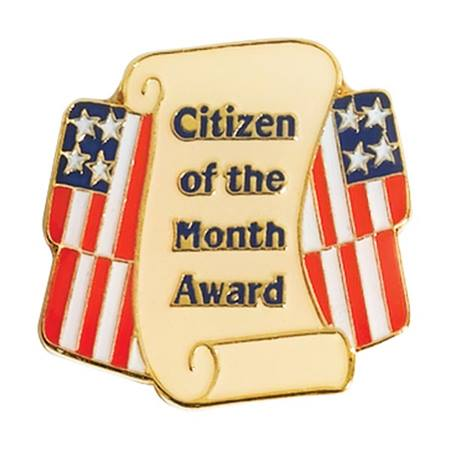 "Image of Scroll and US Flag with words ""Citizen of the Month Award"""
