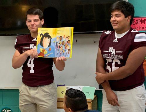 Senior Football & Cheer Read to 2nd Graders at NAES