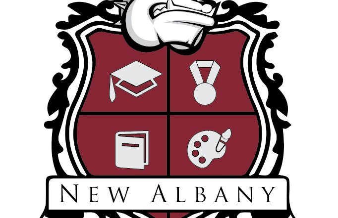New Albany Official Crest with Bulldog Head