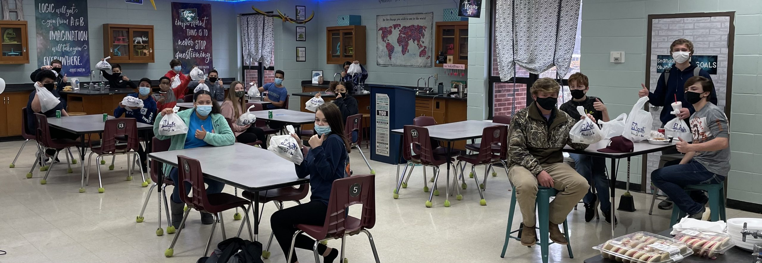 Student enjoy Mexican lunch as reward for winning food drive contest
