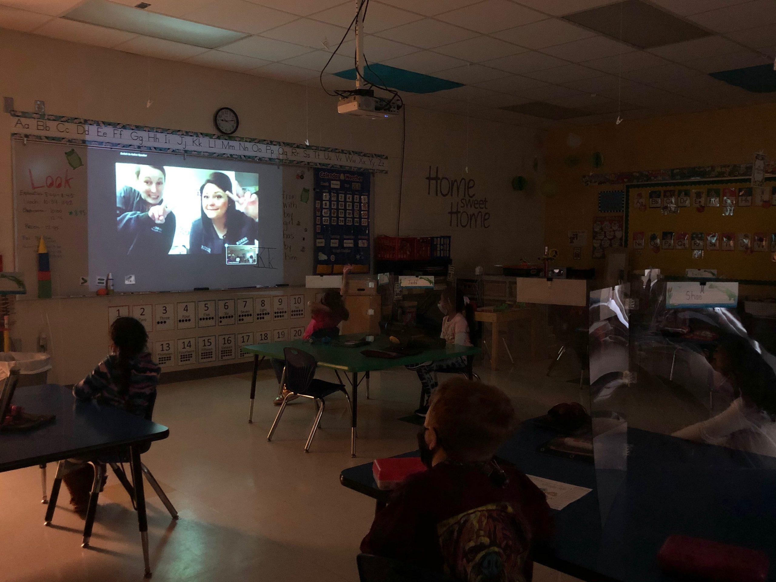 Kindergarten students learning more about dental health