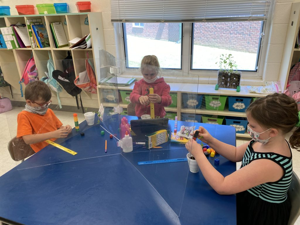 Prestyn Gann, Amelia Patton, Dixie Smith are measuring their plants by using standard and nonstandard units of measurement.