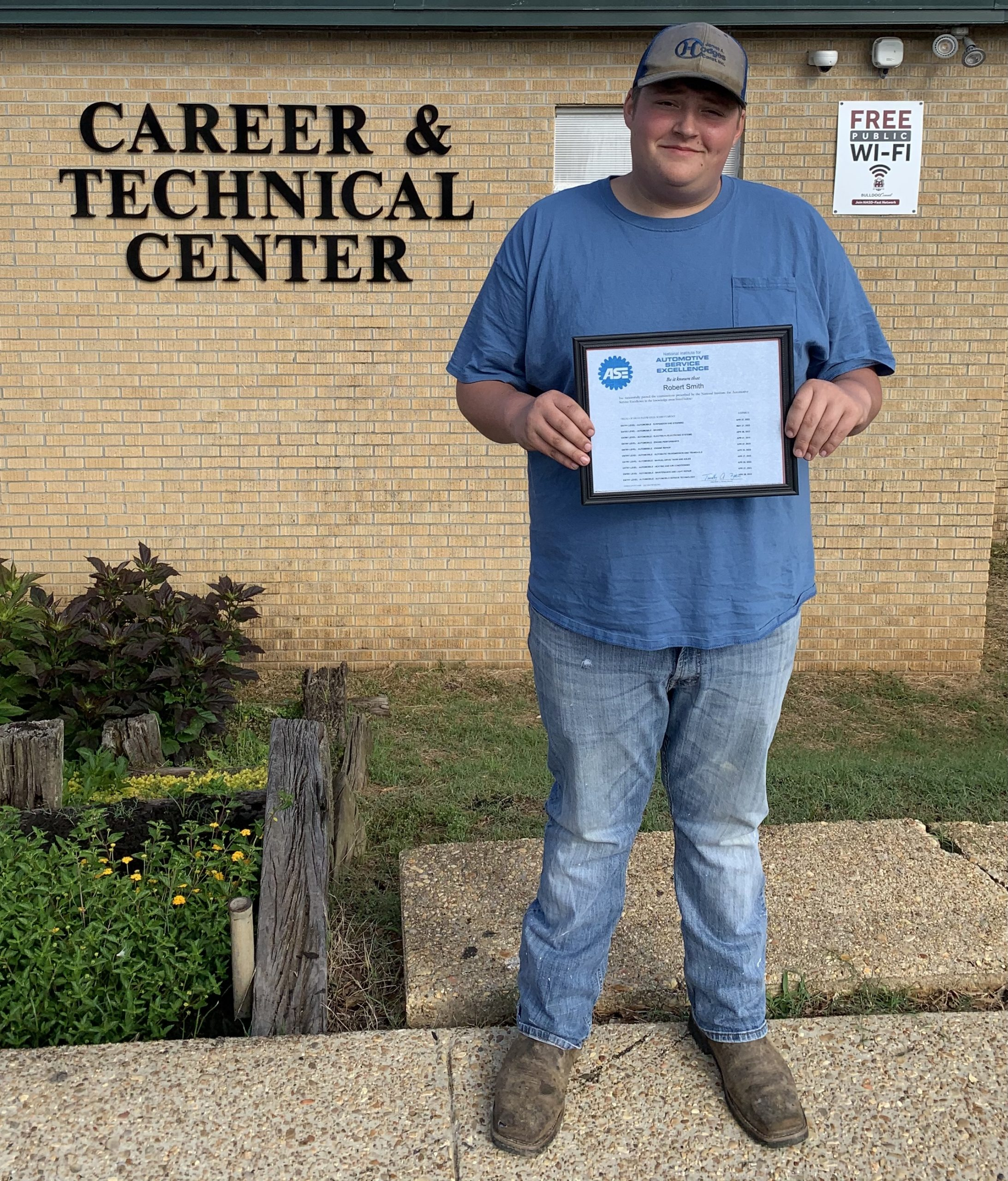 Ethan Smith received all ten ASE certifications at the CTE.